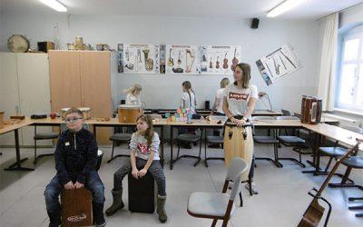 Grundschüler aus Hammerbrücke an der Seminarschule